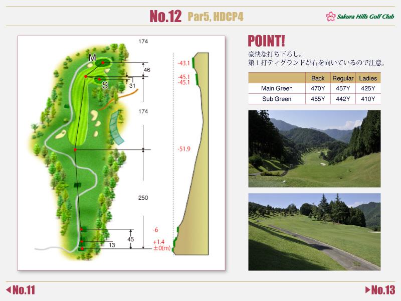 桜ヒルズゴルフクラブ Course detail No.12