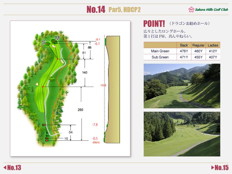 桜ヒルズゴルフクラブ Course detail No.14