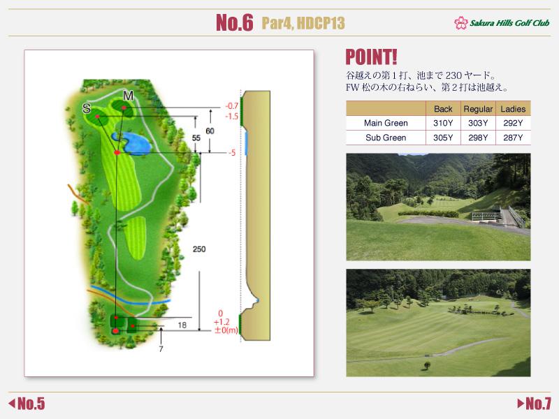 桜ヒルズゴルフクラブ Course detail No.6